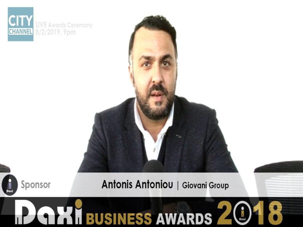 DAXI AWARDS Antonis Antoniou  Executive Director The Giovani Group